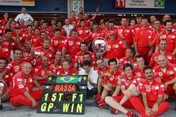 Ferrari team celebration to celebrate the first win for Felipe Massa, Ferrari