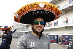 Fernando Alonso, McLaren, wearing a Sombrero