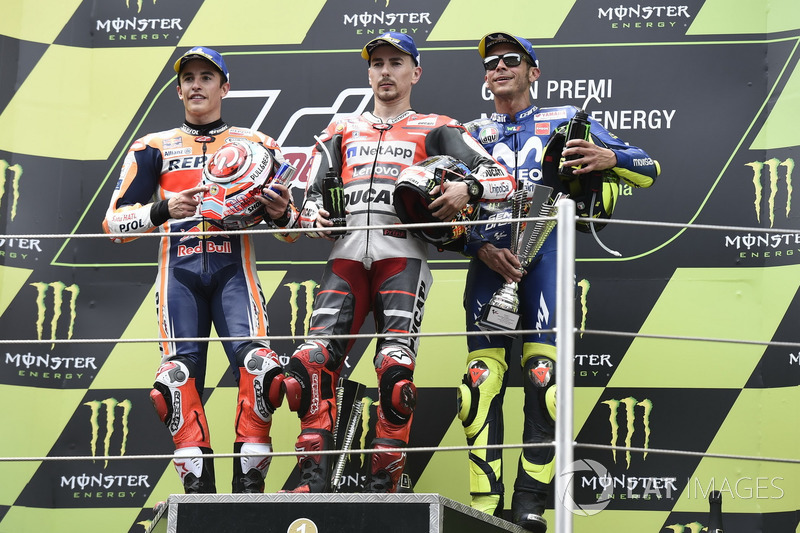 подіум: Марк Маркес, Repsol Honda Team, Хорхе Лоренсо, Ducati Team, Валентино Россі, Yamaha Factory Racing