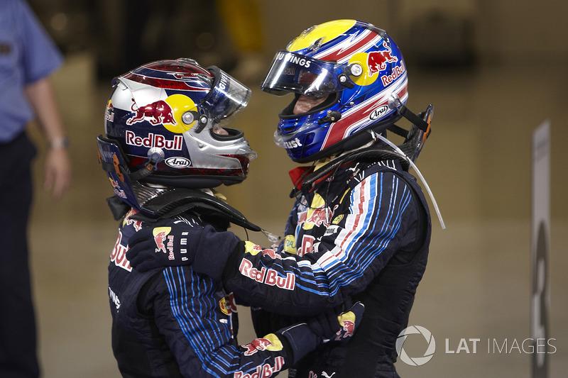 Ganador Sebastian Vettel, Red Bull Racing, segundo lugar Mark Webber, Red Bull Racing