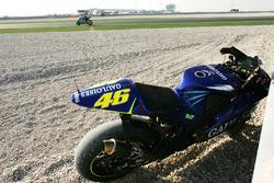 The crashed bike of Valentino Rossi