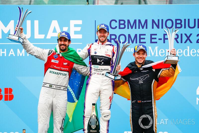 Sam Bird, DS Virgin Racing, vince l'ePrix di Roma con Lucas di Grassi, Audi Sport ABT Schaeffler, 2°, Andre Lotterer, Techeetah, 3°