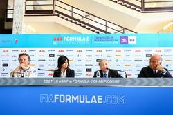 Alejandro Agag, CEO, Formula E, Virginia Elena Raggi, Mayor of Rome, Jean Todt, FIA President, Angelo Sticchi Damiani, President of ACI, in the press conference