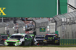 Mark Winterbottom, Tickford Racing Ford, leads Cameron Waters, Tickford Racing Ford