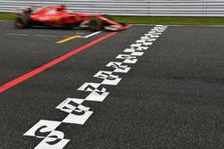 Sebastian Vettel, Ferrari SF70H and start and finish stripe