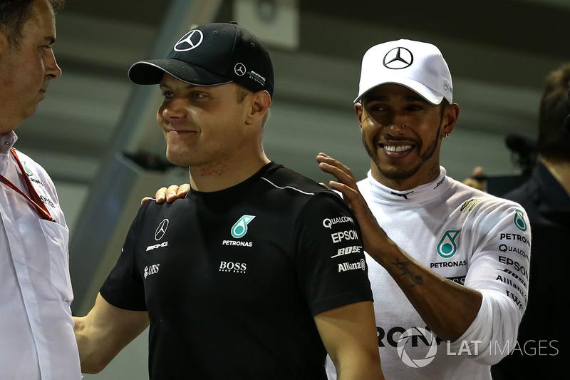 Valtteri Bottas, Mercedes AMG F1 and Lewis Hamilton, Mercedes AMG F1 celebrate