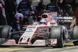 Sergio Perez, Sahara Force India F1 VJM10, leaves his pit box after a stop