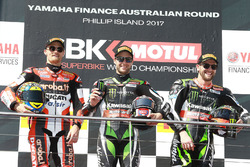 Podium: race winner Jonathan Rea, Kawasaki Racing, second place Chaz Davies, Ducati Team, third place Tom Sykes, Kawasaki