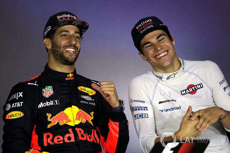 Conferencia de prensa: ganador de la carrera Daniel Ricciardo, Red Bull Racing, tercer lugar Lance Stroll, Williams