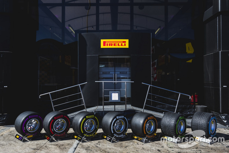 The new range of Pirelli P-Zero tyres outside the Pirelli hospitality area in the paddock