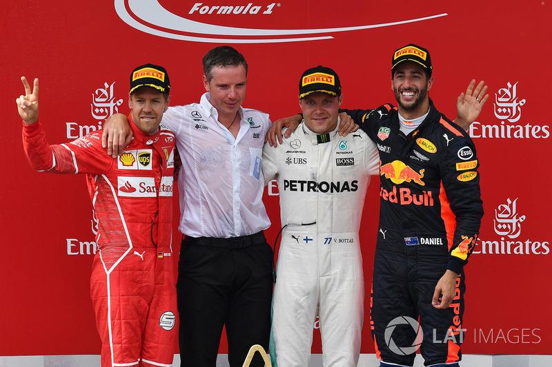 Podium: race winner Valtteri Bottas, Mercedes AMG F1, second place Sebastian Vettel, Ferrari, third place Daniel Ricciardo, Red Bull Racing