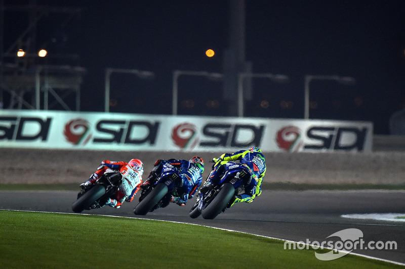 Andrea Dovizioso, Ducati Team; Maverick Maverick Viñales, Yamaha Factory Racing; Valentino Rossi, Ya