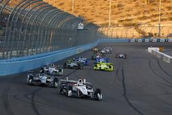 Helio Castroneves, Team Penske Chevrolet leads Josef Newgarden, Team Penske Chevrolet