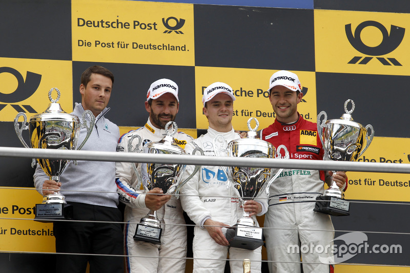 Podium: Race winner Lucas Auer, Mercedes-AMG Team HWA, Mercedes-AMG C63 DTM, second place Timo Glock, BMW Team RMG, BMW M4 DTM, third place Mike Rockenfeller, Audi Sport Team Phoenix, Audi RS 5 DTM