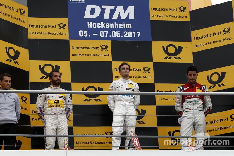 Podium: Race winner Lucas Auer, Mercedes-AMG Team HWA, Mercedes-AMG C63 DTM, second place Timo Glock, BMW Team RMG, BMW M4 DTM, third place Mike Rockenfeller, Audi Sport Team Phoenix, Audi RS 5 DTM