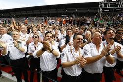 The Mercedes team cheer for Race winner Valtteri Bottas, Mercedes AMG F1, on the podium