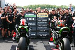 Race winner Jonathan Rea, Kawasaki Racing, second place Tom Sykes, Kawasaki Racing celebrate 100 Kawasaki Racing WSBK wins