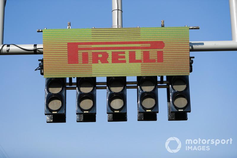 Pirelli signage over start light gantry
