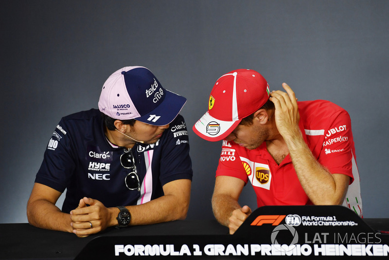 Sergio Perez, Racing Point Force India F1 Team et Sebastian Vettel, Ferrari en conférence de presse