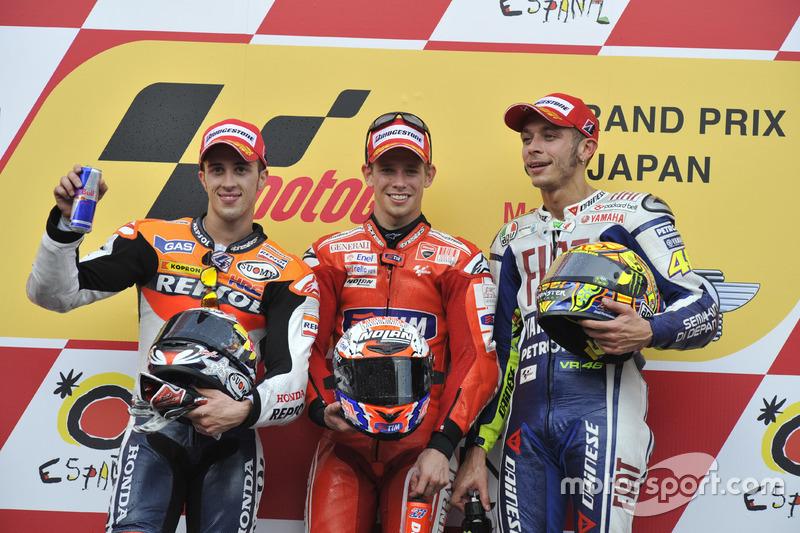Podium: Race winner Casey Stoner, Ducati; second place Andrea Dovizioso; Repsol Honda; third place Valentino Rossi, Yamaha