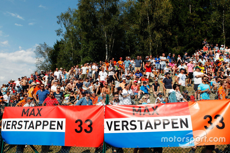 Fans and banners for Max Verstappen, Red Bull Racing