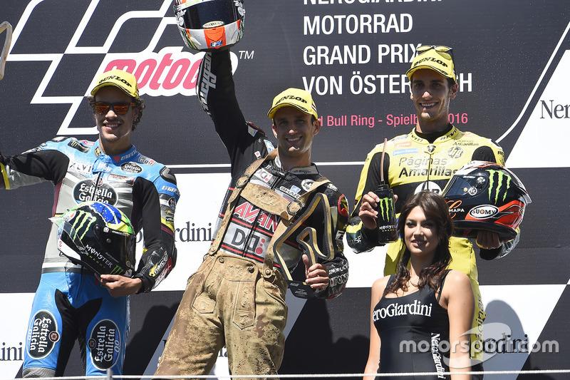 Podio: il secondo classificato Franco Morbidelli, Marc VDS, il vincitore della gara Johann Zarco, Aj