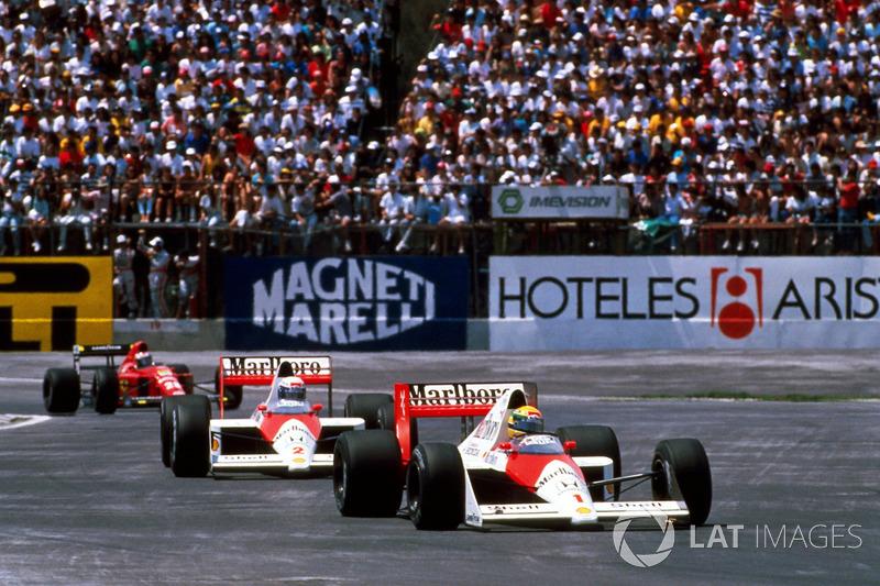 Ayrton Senna, McLaren MP4/5 devant Alain Prost, McLaren MP4/5
