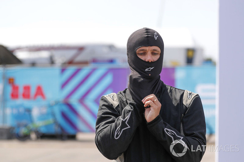 Jon Olsson, Alpine ski racer, prepares to go on track with the Formula E track car