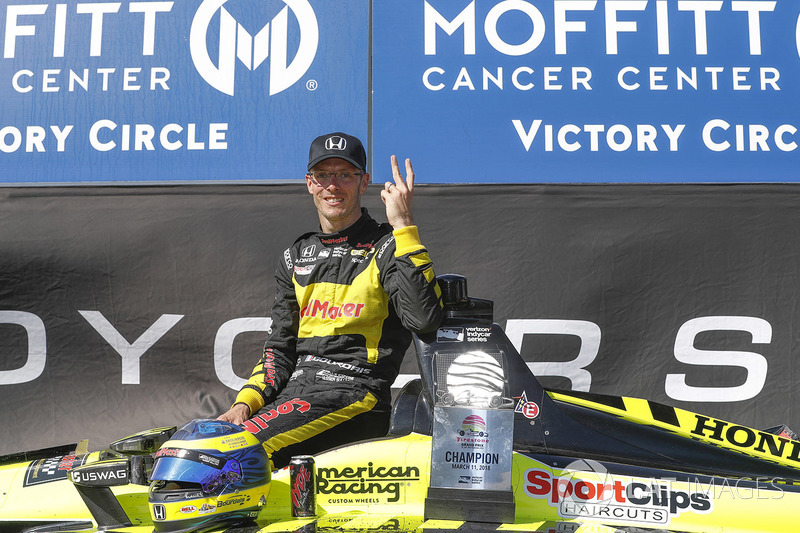 Sébastien Bourdais, Dale Coyne Racing with Vasser-Sullivan Honda, celebrates his second straight victory at St. Petersburg, FL.