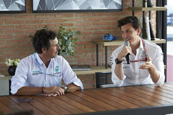 Toto Wolff, Mercedes AMG F1 Director of Motorsport with Petronas engineer