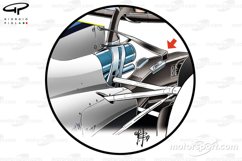 Williams FW40, T-wing bajo