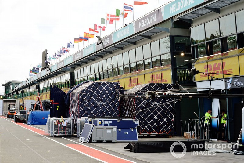 Williams Racing freight arrives in the pit lane