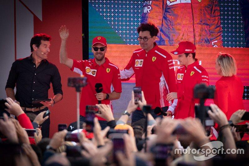 Mark Webber, Mattia Binotto, Ferrari, Sebastian Vettel, Ferrari, Charles Leclerc, Ferrari