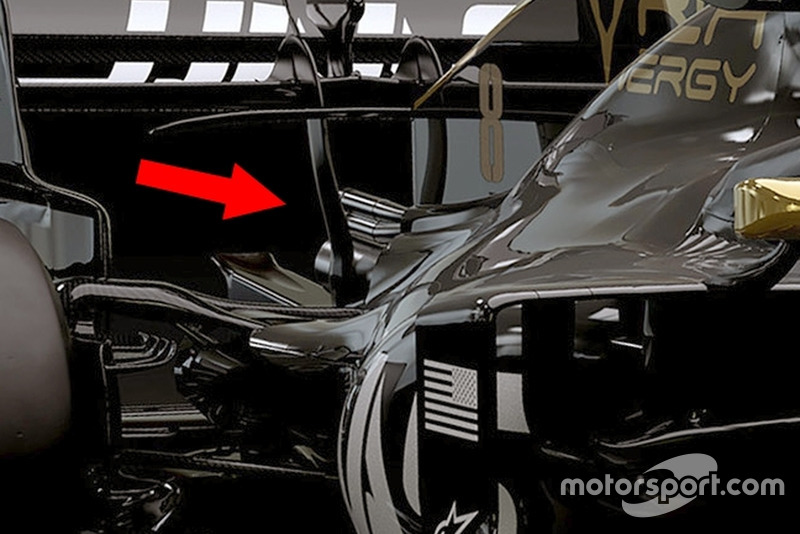 Haas F1 VF-19 egzoz ve arka süspansiyon detay