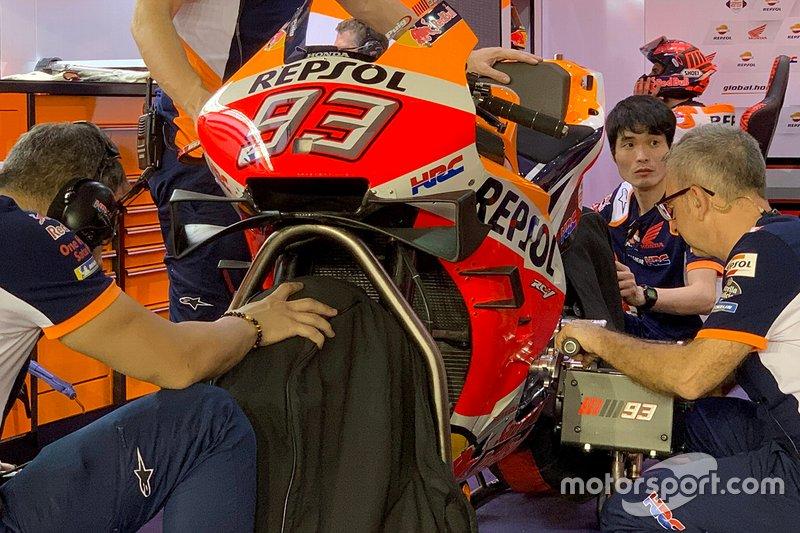 Dettaglio della carena della moto di Marc Marquez, Repsol Honda Team