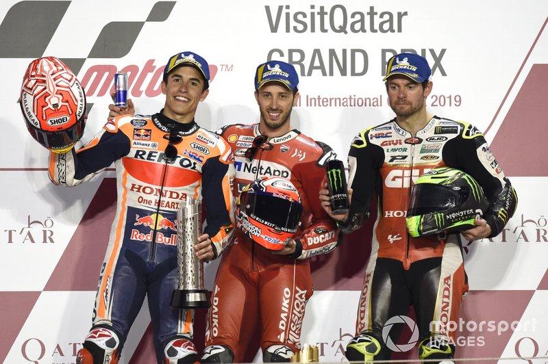Podio: segundo, Marc Marquez, Repsol Honda Team, Ganador, Andrea Dovizioso, Ducati Team, tercero, Cal Crutchlow, Team LCR Honda