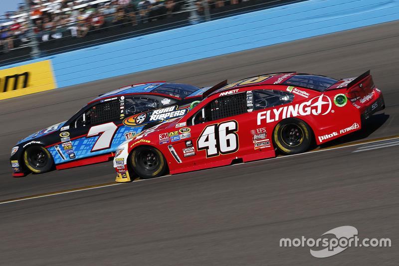 Michael Annett, HScott Motorsports Chevrolet, Regan Smith, Tommy Baldwin Racing Chevrolet