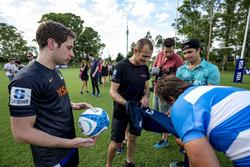 Rugby player Juan Martín Hernández and Stéphane Sarrazin, Venturi, Robin Frijns, Amlin Andretti Formula E Team