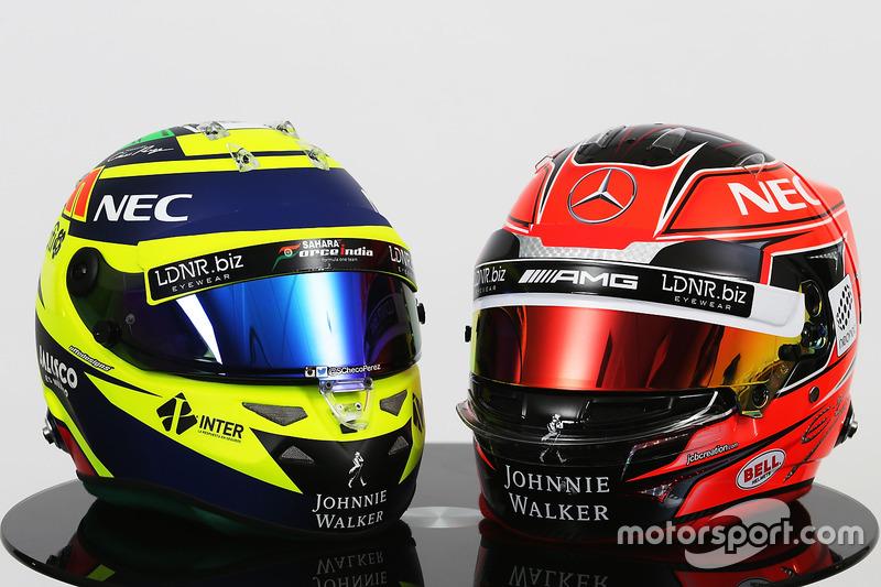 Les casques de Sergio Perez, Sahara Force India F1 et Esteban Ocon, Sahara Force India F1 Team