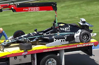 The crashed car of Josef Newgarden, Team Penske Chevrolet