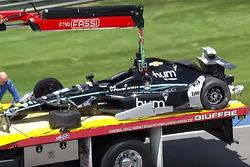 The crashed car of Josef Newgarden, Team Penske Chevrolet