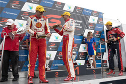 Podium: race winner Fabian Coulthard, Team Penske Ford, second place Scott McLaughlin, Team Penske Ford, third place Jamie Whincup, Triple Eight Race Engineering Holden