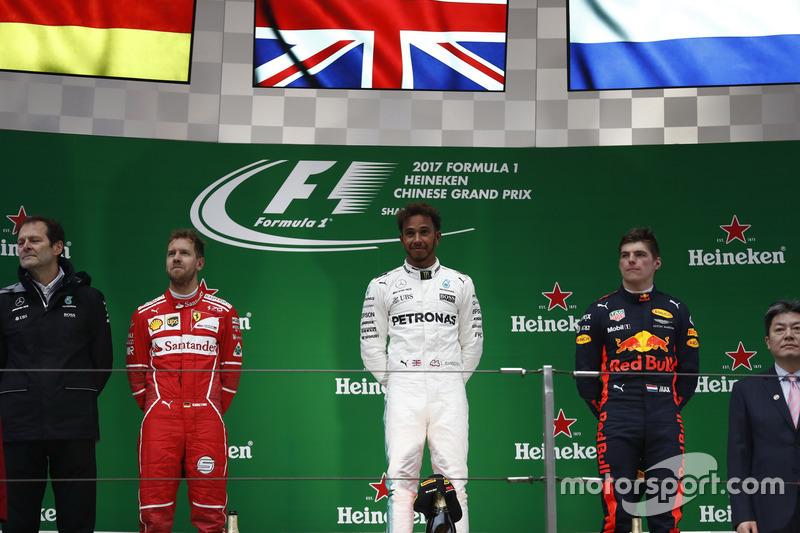 Race winner Lewis Hamilton, Mercedes AMG, second place Sebastian Vettel, Ferrari, third place Max Verstappen, Red Bull Racing, on the podium