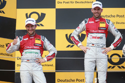 Podium: Racewinnaar René Rast, Audi Sport Team Rosberg, Audi RS 5 DTM, tweede plaats Mike Rockenfeller, Audi Sport Team Phoenix, Audi RS 5 DTM