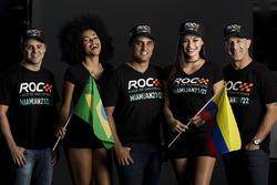 Felipe Massa, Juan Pablo Montoya, Tony Kanaan with the ROC girls