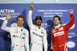 Polesitter Lewis Hamilton, Mercedes AMG F1 Team, 2. Nico Rosberg, Mercedes AMG F1 Team, 3. Sebastian Vettel, Ferrari