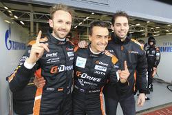 Обладатели лучшего квалификационного времени в LMP2 Роман Русинов, Натанаэль Бертон и Рене Раст, G-Drive Racing