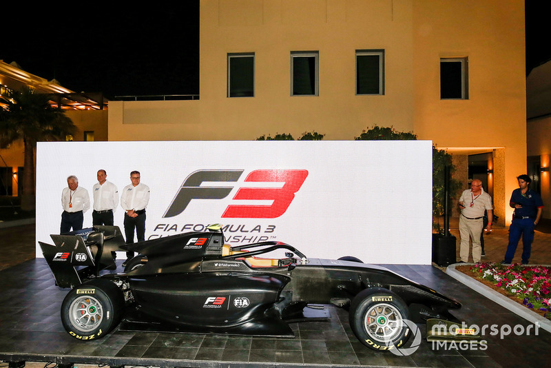 The new for 2019 FIA F3 car is launched by Bruno Michel, Didier Perrin, Charlie Whiting and Sean Bratches in the F1 paddock