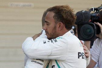 Lewis Hamilton, Mercedes AMG F1, celebrates his win with his team mate Valtteri Bottas, Mercedes AMG F1