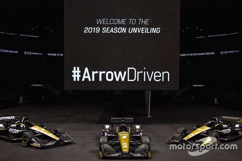 The Arrow Schmidt Peterson Motorsports Hondas of James Hinchcliffe, Robert Wickens and Marcus Ericsson.
